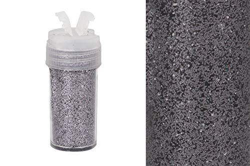 Creativery Glitzerpulver 0,26mm Dose 2,5x5,5cm mit Streudeckel Glitzerstaub Glitter Basteln Nailart Farbauswahl: grau 080