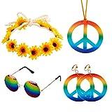Accessoires Hippie 5 pièces Ensemble de Costume Hippie comprend Collier de...