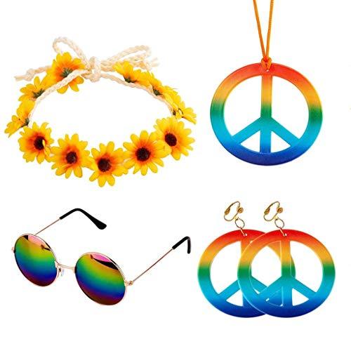 Hippe Kostuum Set 5 Stuks Hippie Dressing Accessoires Inclusief Hippie Zonnebril Peace Sign Ketting Hippie Zonnebloem Hoofdband en 2 Stuks Oorbellen voor Vrouwen en Mannen Feestartikelen