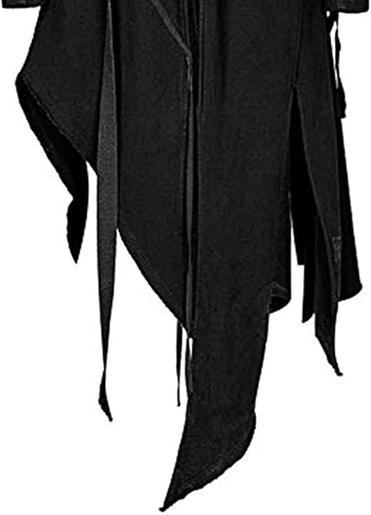 Men's Vintage Zipper Up Asymmetrical Hoodie Jacket, Irregular LonglineRetro Punk Style Party Outwear Coat (Black,XXL)