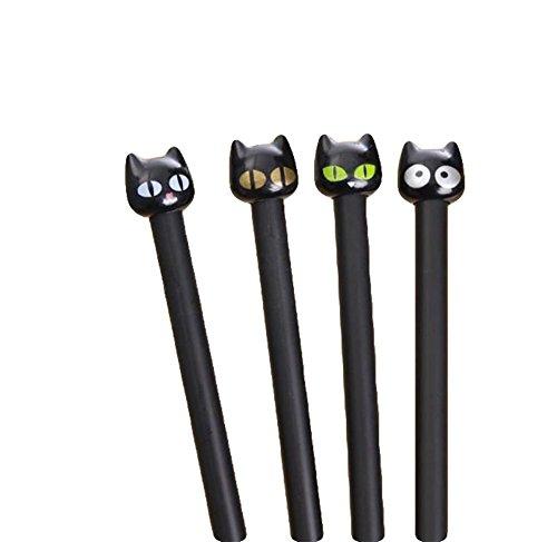 Kanggest 4 Unidades Plumas de Gel Creativas Kawaii Forma de Gato Bolígrafos de Gel Bonitos de Negro Tinta Bolígrafo