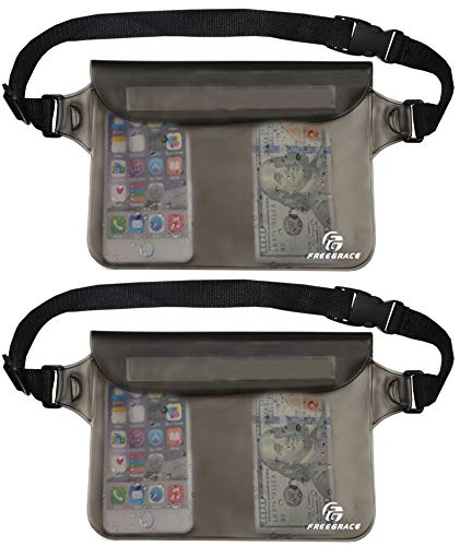 Freegrace Waterproof Pouches Set with Waist Strap - Keep Your Phone and Valuables Dry and Safe – Waterproof Dry Bags for Boating Swimming Snorkeling Kayaking Beach Water Parks Fishing (2 Pack Grey)