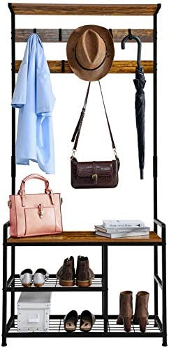Mr IRONSTONE Coat Rack Shoe Bench 3 in 1 Hall Tree Entryway Storage Shelf Coat Rack Stand with product image