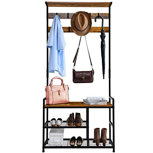 Mr IRONSTONE Coat Rack Shoe Bench, 3-in-1 Hall Tree Entryway Storage Shelf Coat Rack Stand with Hanging Bar and 9 Hooks Easy Assembly (Vintage)