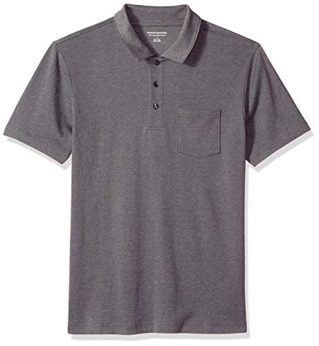 Amazon Essentials Herren-Poloshirt, schmale Passform, mit Brusttasche, aus Jersey, Charcoal Heather, US L (EU L)