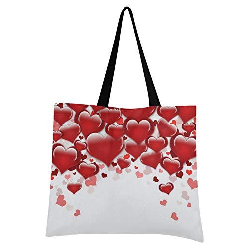 JinDoDo - Bolsa de lona reutilizable con diseño de corazón, color rojo