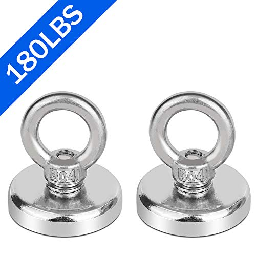 Neodymium Fishing Magnets 2 Pack, 180LBS Pulling Force Strong Round Rare Earth Magnet N52 with Countersunk Hole Eyebolt for Magnetic Fishing, River, Salvage, Treasure Hunting, 1.9
