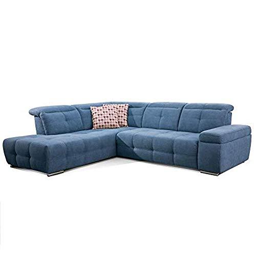 CAVADORE Schlafsofa Mistrel mit Ottomane links / Große Eck-Couch im modernen Design / Mit Bettfunktion / Inkl. verstellbare Kopfteile / Wellenunterfederung / 269 x 77-93 x 228 cm / Blau