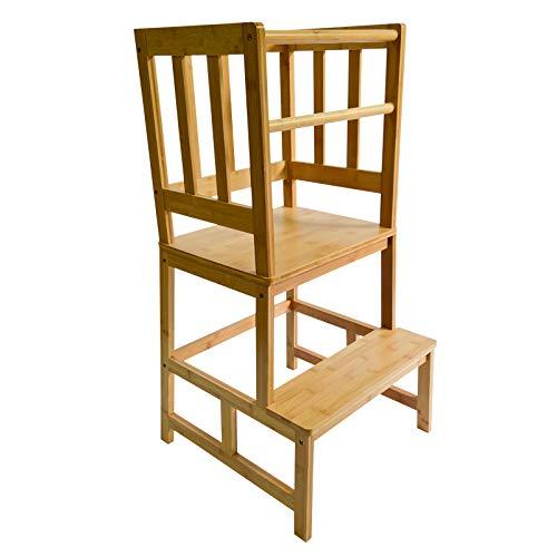 Kinderstuhl Lernturm aus Holz 46x46x89cm mit Geländer & Schutzstab, Lernstuhl für Kinder
