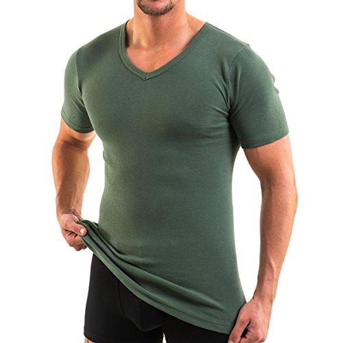 HERMKO 4880 Herren Kurzarm Shirt mit V-Ausschnitt, Business Unterhemd aus 100{4223d3c30107fb0bd73408f36d1fc5a082dad4b71d0a1d5c7c39bf18d170deb2} Bio-Baumwolle, Größe:D 5 = EU M, Farbe:Olive