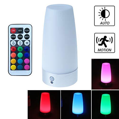 WRalwaysLX Tischlampe, Retro-LED-Nachtlicht, Nachttischlampe mit kabellosem PIR-LED-Bewegungssensor, Nachtlicht, betriebenes Licht für Wohnzimmer, Schlafzimmer, Badezimmer, Flur, Küche (Runden)