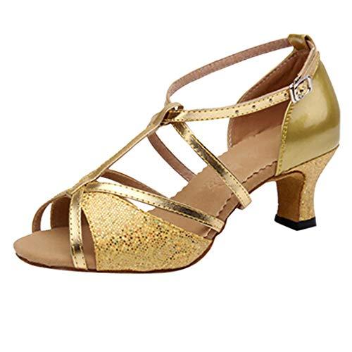 HHBack Zapatillas, Mujer Rumba Waltz Baile salón Latino Salsa Zapatos de Baile Cuadrado