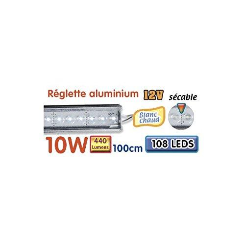 Réglette LED alu 100 cm 10W 12V blanc chaud