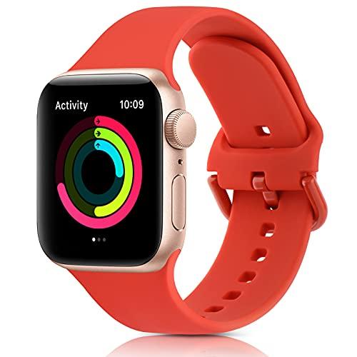 Amzpas Cinturino Compatibile con Apple Watch 38mm 42mm 40mm 44mm, Nuovo Cinturino Sportivo in Silicone Morbido con Chiusura Classica per iWatch Series 6 5 4 3 2 1 SE (42/44mm, 07Rosso arancio)