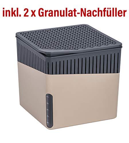 Wenko Raumentfeuchter Cube beige mit 2 x 500 g Granulat-Nachfüller, Luftentfeuchter