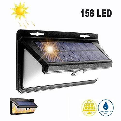 Luce Solare Esterno, LTPAG 158 LED Lampada Solare da Esterno con Sensore di Movimento 270° Illuminazione- Fiamme 3 Modalità Funzione Grandangolo Luci Solari da Parete Impermeabile per Cortile,Bianco