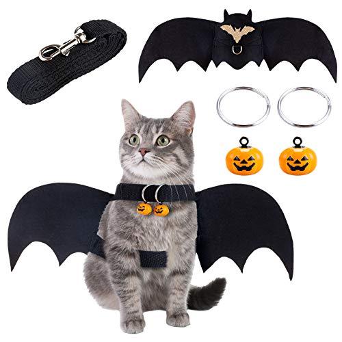 Melliex Costume Pour Chat Halloween Vêtements de Chauve-Souris pour Chats Avec Cloche de Citrouille et Laisse pour Petits Chiens, Chats