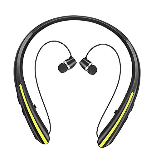 prasku Auriculares Estéreo Inalámbricos con Bluetooth para Auriculares con Micrófono Y Banda para El Cuello Sport - Amarillo