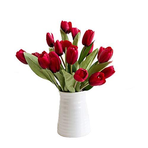 LXLTL Artificial Tulipanes, Falso Flores De Tulipán Ramo, para Hogar Cuarto De Estar Mesa De Comedor Adornos Boda,Rojo