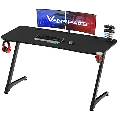 VANSPACE 55 Inch Ergonomic Gaming Desk with Free Mouse Pad, Z-Shaped Office Desk PC Computer Desk Racing Gaming Table Gamer Workstation with Cup Holder & Headphone Hook, Cable Manage