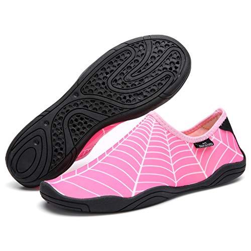 YQQMC Hombres y Mujeres Descalzos Soft Soft-SOFTS SOFTS Snorkeling Zapatos de Agua Zapatos de Agua Natación Antideslizante Respirable (Color : Pink, Size : 40 EU)