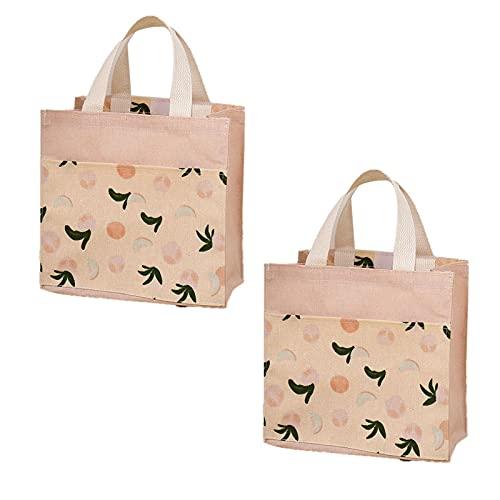 ASFINS Mini Bolsa Tote Tela, 2pzs Bolsa de Lona Mujer Bolsa Tote Bolsa de Algodón Reutilizable para Las Compras Salir, 22cm x 22cm (Melocotones Rosados)
