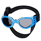 Petarty Pet Sunglasses for Dogs, Dog Eye Glasses, Foldable UV Dog Goggles Windproof for Car Rides Motorcycle Eye Protection Pet Goggles Sunglasses with Chin Straps Elastic for Medium Size Dogs, Blue