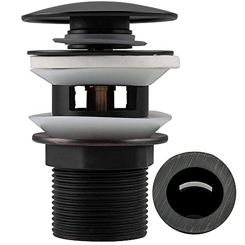Frap Desagüe universal para lavabo/lavabo de latón negro aceite-rubbed bronce diseño retro válvula emergente con/sin rebosadero, válvula de vástago 1 1/4 negro