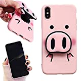 iPhone XR Case - Cute Pig Nose Pop Socket Cell Phone Cases for iPhone XR - 3D Pig Pattern Stand Case Back Cover with Pop Up Holder (Pink, iPhone XR)