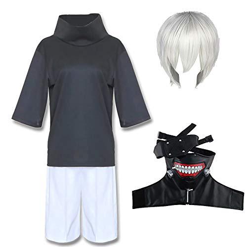 Daiwen Tokyo Ghoul Cosplay Kaneki Ken Disfraz de Cosplay, Japn Anime Ken Kaneki Traje de Uniforme de Halloween con Peluca y Mscara