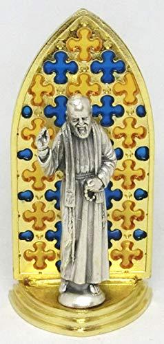 GTBITALY 20.079.21 Vitrina gótica esmaltada a mano oro con dibujo del Padre Pio Medida 8,5 cm