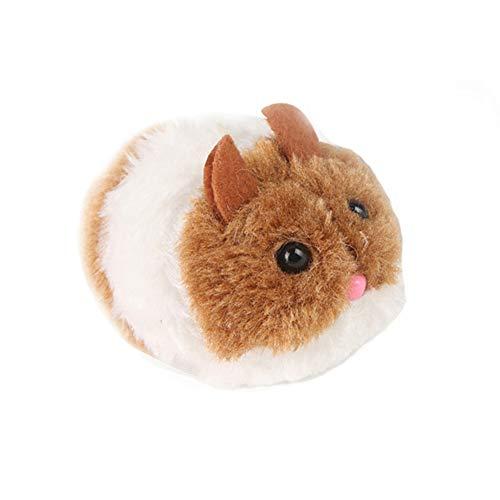 mAjglgE Plüschspielzeug für Hunde und Katzen, Laufmaus, Tier, Ziehschwanz, interaktives Geschenk, Braun