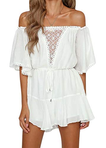 TAOHONG Women's Elegant Jumpsuit Off Shoulder Summer Lace Ruffle Playsuit Short with Belt Romper Perspective Backless White