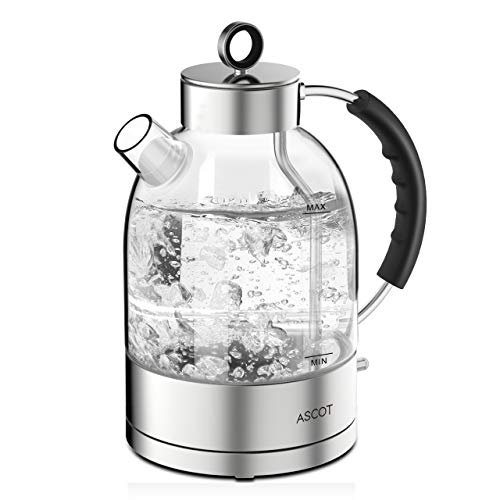 ASCOT 1.7L Glass Kettle Electric, Hot Water Boiler with 304 Stainless Steel, Retro Kettle, Cordless Glass Teapot with Auto Shut Off & Boil-Dry Protection, LED Light, Clear