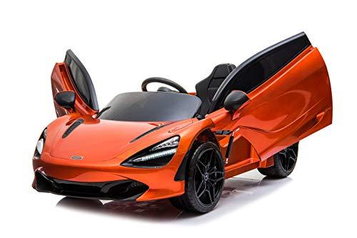 McLaren 720S - Coche eléctrico para niños (12 V, 7 Ah, 2 motores, mando a distancia de 2,4 GHz, MP3, asiento de piel y EVA+), color naranja lacado