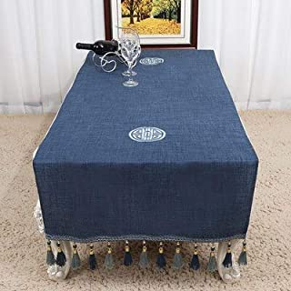 BeesClover Widen Long Embroidered Cotton Linen Chinese Table Runner with Pocket Dining Table Cover Ethnic Table Cloth Placemat Coffee Pads Navy Blue Dobby 70 x 200 cm