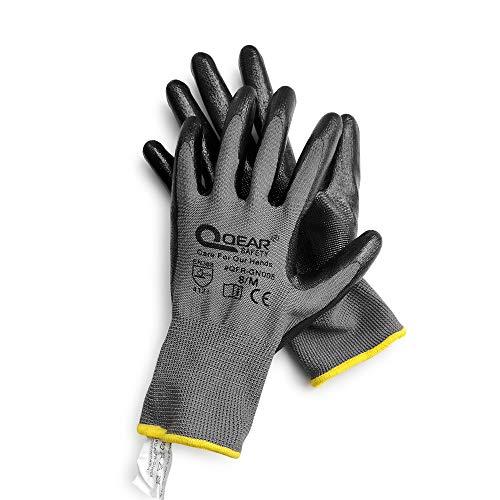 12 pares de guantes de seguridad con revestimiento de caucho de nitrilo, multifunción, ligero, abrasión, resistencia al aceite/grasa (9/grande)