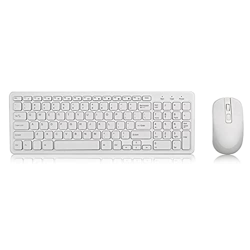 Teclado inalámbrico 2.4G USB Mouse Combos Teclado ergonómico para PC Laptop TV Blanco