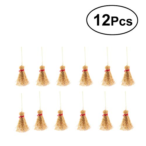 SUPVOX Mini Scope Naturali Artigianato Scopa Giocattolo con Corda Rossa Paglia per il Giardino della Cucina Casa delle Bambole in miniatura Decorazioni per la festa di Halloween 12 PZ