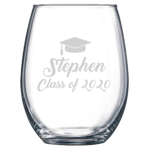 Personalized Graduation Stemless Wine Clas Max 59% OFF Manufacturer direct delivery Gift Glass