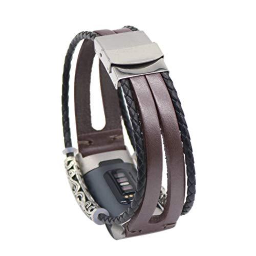 Kompatibel Für Fitbit Charge 3 Uhrenarmband Retro Leder Armbänder Fitness Armband Wristband Damen Herren Bracelets Für Fitbit Charge 2 Deng Xuna (Kaffee)