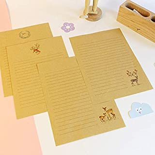10Pcs/pack Chinese Simple style cute Deer series kraft Writing Paper Letter kawaii gift Office Stationery (Color : Random)