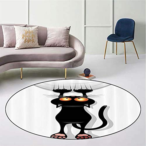 """Funny Decor Skid-Resistant Round Floor Mat, Angry Furry House Cat Scratching Curtains Best Friend Companion Happy Paws Artsy Image Safe for All Surfaces Home Playroom, Diameter 43"""" Black White"""