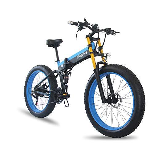 XXCY Bicicleta eléctrica Plegable de 26 Pulgadas,1000W 48V 15Ah Batería de Iones de Litio extraíble Bicicleta de montaña eléctrica Aleación de Aluminio Neumático Grueso 3 Modos de conducción (Azul)