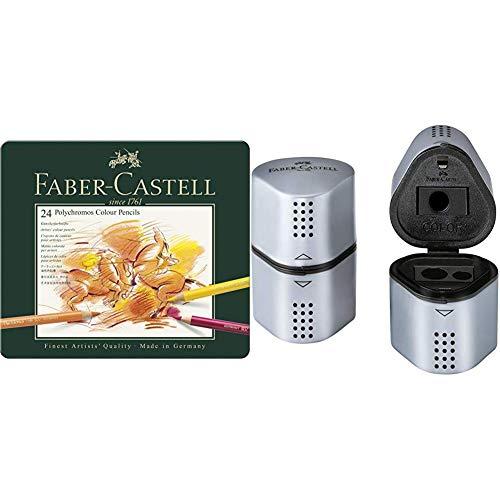 Faber-Castell 110024 Crayon de couleur Polychromos boîte métal de 24 pièces & 183800 Taille-crayon GRIP 2001 Trio argent