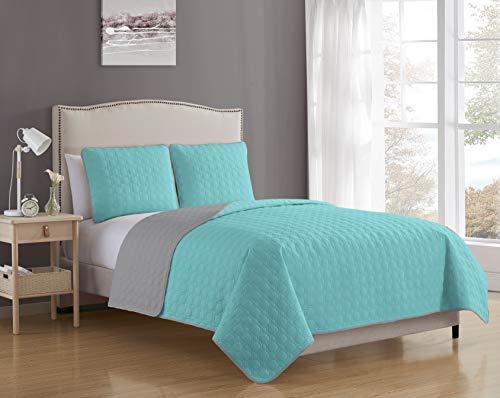 Blissful Living - Juego de edredón reversible de lujo con fundas de almohada, ligero y suave para comodidad durante todo el año, (aguamarina, gris, King)