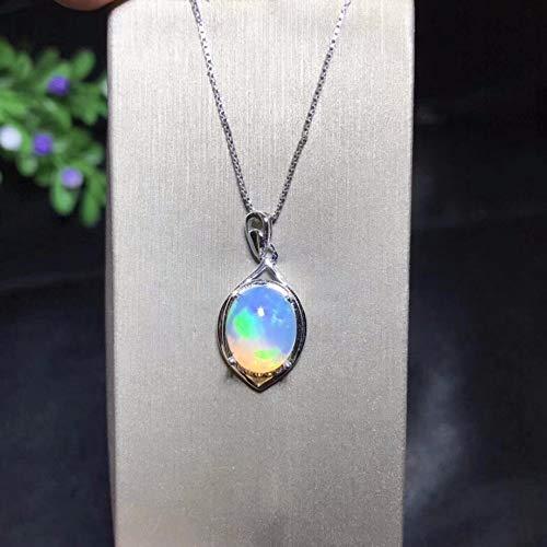 HOULAI Halskette mit natürlichem Opal, australischer Bergbaugebiet, Farbwechsel und bunt, 925er Silber