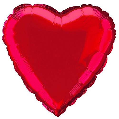 Unique Party- Globo foil helio corazón, Color rojo, 45 cm (52953) , color/modelo surtido