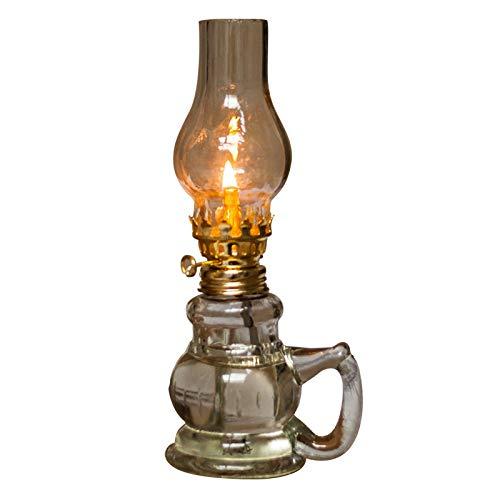 MYSY Glas Petroleumlampe Vintage Laterne Lange Lampe Retro transparente Desktop-Öllampe Home Notlicht Outdoor winddichtes Glas Camping Zelt Lampe-Öl frei (19CM)
