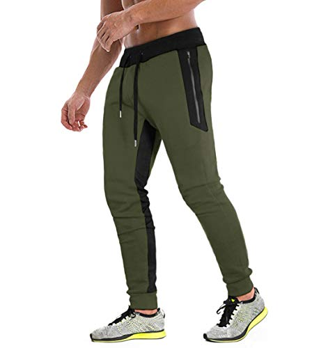 KEFITEVD Sportjoggerbyxor för män elastiska löparbyxor andningsbara träningsbyxor med 3 fickor...